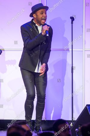 Rayvon Owen performs during the Voices on Point Gala at the Hyatt Regency Century City on in Los Angeles