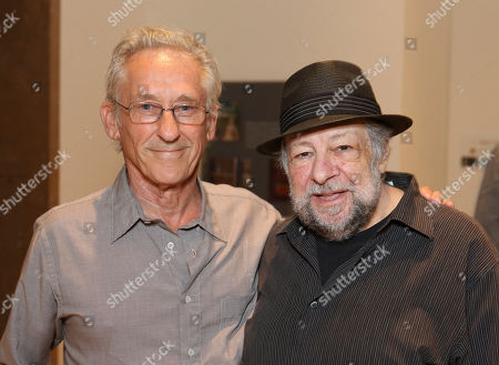 "Stock Image of From left, artist Ed Ruscha and actor Ricky Jay pose during the opening of ""Hearsay Of The Soul"" filmmaker Werner Herzog's video installation at the Getty Museum, in Los Angeles, Calif"