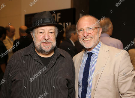 "Stock Photo of From left, actor Ricky Jay and Jim Cuno, President and CEO, J. Paul Getty Trust pose during the opening of ""Hearsay Of The Soul"" filmmaker Werner Herzog's video installation at the Getty Museum, in Los Angeles, Calif"