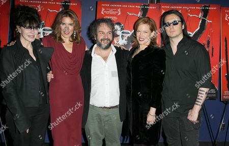 "Fran Walsh left, Amy Berg second left, Peter Jackson center, Lorri Davis second right and Damien Echols right attend the premiere of ""West of Memphis"" at Florence Gould Hall on in New York"