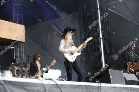 Elliot Bergman and Natalie Bergman with Wild Belle performing at the Shaky Knees Music Festival, in Atlanta