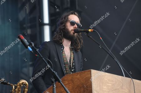 Elliot Bergman with Wild Belle performing at the Shaky Knees Music Festival, in Atlanta