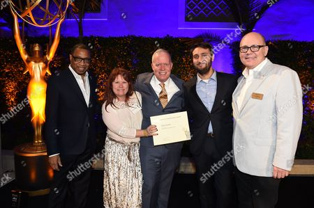 Tim Gibbons, Hayma Washington. Jeremy Konner, Owen Burke and Melissa Wylie pose with Tim Gibbons and Hayma Washington at the 2017 Producers Nominee Reception presented by the Television Academy on in Beverly Hills, Calif