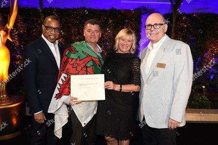 Tim Gibbons, Hayma Washington, Steven Moffat, Sue Vertue. Steven Moffat and Sue Vertue pose with Tim Gibbons and Hayma Washington at the 2017 Producers Nominee Reception presented by the Television Academy on in Beverly Hills, Calif
