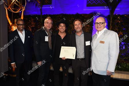 Jean-Marc Vallee, Gregg Fienberg, Nathan Ross, Tim Gibbons, Hayma Washington. Jean-Marc Vallee, Gregg Fienberg and Nathan Ross pose with Tim Gibbons and Hayma Washington at the 2017 Producers Nominee Reception presented by the Television Academy on in Beverly Hills, Calif