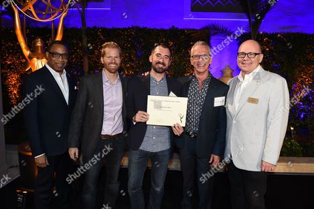 Tim Gibbons, Hayma Washington, Alex Buono, Rhys Thomas, Scott Stiles. Alex Buono, Rhys Thomas and Scott Stiles pose with Tim Gibbons and Hayma Washington at the 2017 Producers Nominee Reception presented by the Television Academy on in Beverly Hills, Calif