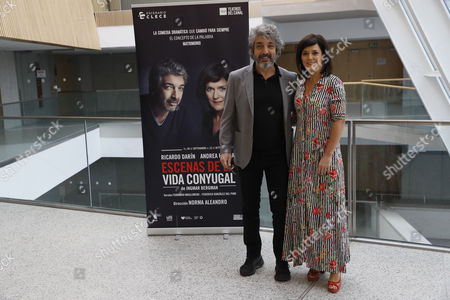 Argentinian actor Ricardo Darin (L) poses with Argentinian actress Andrea Pietra (R) during the presentation of the play 'Escenas de la vida conyugal' an adaptation of the tv miniseries of Ingrid Bergman 'Scenes from a Marriage' at Canal Theatre in Madrid, Spain, 15 September 2017.