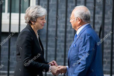 British Prime Minister Theresa May meets Malaysian Prime Minister Najib Tun Razak in Downing Street.