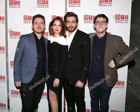 """From left, director Michael Longhurst, Ruth Wilson, Jake Gyllenhaal and playwright Nick Payne attend the opening night party of """"Constellations"""", in New York"""