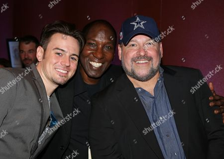 """From left, Cast members Brian Gallagher, Mel Johnson Jr. and Composer Frank Wildhorn pose during the party for the opening night performance of """"Jekyll & Hyde"""" The Musical at the La Mirada Theatre for the Performing Arts, in La Mirada, Calif"""