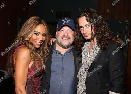 """From left, Cast member Deborah Cox, Composer Frank Wildhorn and cast member Constantine Maroulis pose during the party for the opening night performance of """"Jekyll & Hyde"""" The Musical at the La Mirada Theatre for the Performing Arts, in La Mirada, Calif"""