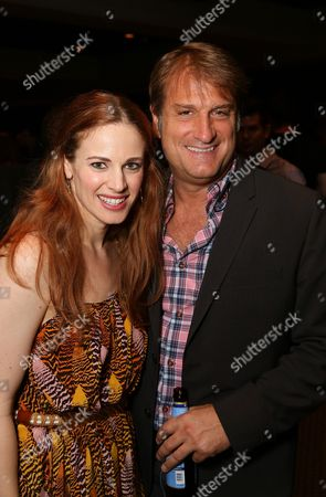 """From left, Cast member Teal Wicks and Director/Choreographer Jeff Calhoun pose during the party for the opening night performance of """"Jekyll & Hyde"""" The Musical at the La Mirada Theatre for the Performing Arts, in La Mirada, Calif"""