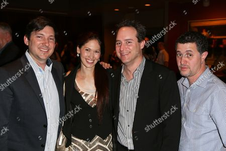 """From left, Jason Niedle, April Molina, Brian Kite, Producing Artistic Director La Mirada Theatre for the Performing Arts and Jeff Maynord pose during the party for the opening night performance of """"Jekyll & Hyde"""" The Musical at the La Mirada Theatre for the Performing Arts, in La Mirada, Calif"""