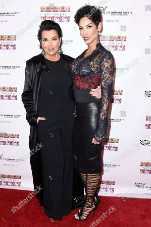 """Kris Jenner, left, and Nicole Murphy attend """"SUBCONSCIOUS"""" by Bria Murphy Gallery Opening at Lace Gallery, in Los Angeles"""