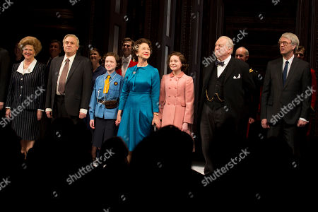 """From left, Judith Ivey, Richard McCabe, Sadie Sink, Helen Mirren, Elizabeth Teeter, Dakin Matthews and Dylan Baker appear on stage at the Broadway opening night curtain call of """"The Audience"""" at The Gerald Schoenfeld Theatre, in New York"""