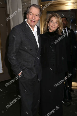 """Charlie Rose, right, and Amanda Burden attend the Broadway opening night of """"The Audience"""" at The Gerald Schoenfeld Theatre, in New York"""