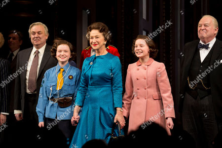 """From left, Richard McCabe, Sadie Sink, Helen Mirren, Elizabeth Teeter and Dakin Matthews appear on stage at the Broadway opening night curtain call of """"The Audience"""" at The Gerald Schoenfeld Theatre, in New York"""