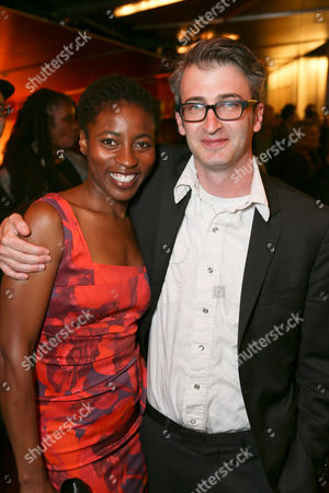 "From left, Choreographer Ameenah Kaplan and Director Daniel Aukin pose during the party for the opening night performance of ""The Royale"" at Center Theatre Group's Kirk Douglas Theatre, in Culver City, Calif"