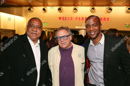 """From left, actor Barry Shabaka Henley, Michael Barnard and actor J. August Richards pose during the party for the opening night performance of """"The Royale"""" at Center Theatre Group's Kirk Douglas Theatre, in Culver City, Calif"""
