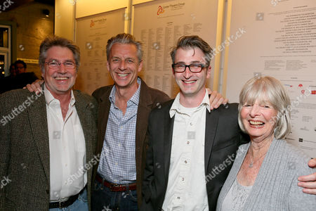 "From left, CTG donor Miles Benickes, CTG Artistic Director Michael Ritchie, Director Daniel Aukin and CTG donor Joni Benickes pose during the party for the opening night performance of ""The Royale"" at Center Theatre Group's Kirk Douglas Theatre, in Culver City, Calif"