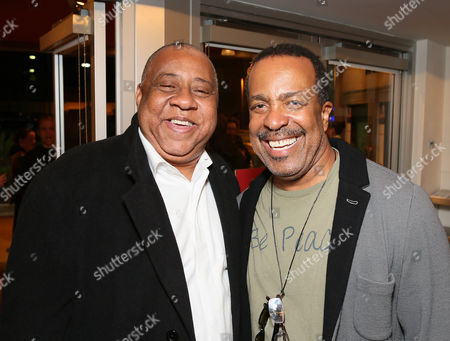 """From left, actor Barry Shabaka Henley and cast member Robert Gossett pose during the party for the opening night performance of """"The Royale"""" at Center Theatre Group's Kirk Douglas Theatre, in Culver City, Calif"""