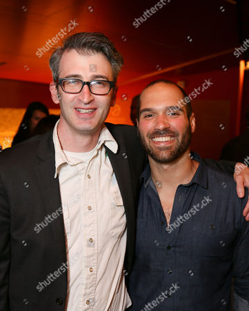 "From left, Director Daniel Aukin and Playwright Marco Ramirez pose during the party for the opening night performance of ""The Royale"" at Center Theatre Group's Kirk Douglas Theatre, in Culver City, Calif"