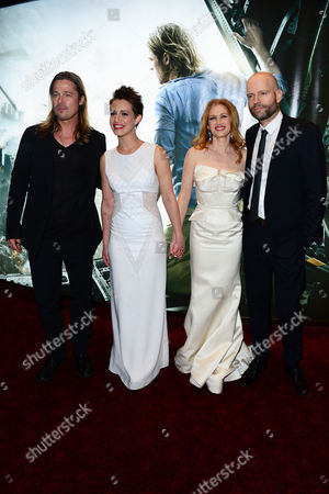 From left, Brad Pitt, Daniella Kertesz, Mireille Enos and Marc Forster arrive at the World Premiere of 'World War Z' at the Empire Cinema in London on Sunday June 2nd, 2013