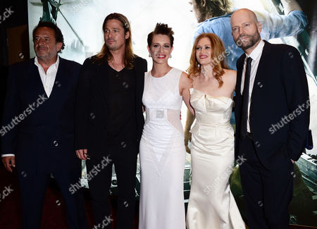 Stock Photo of From left Ludi Boeken, Brad Pitt, Daniella Kertesz, Mireille Enos and Marc Forster arrive at the World Premiere of 'World War Z' at the Empire Cinema in London on Sunday June 2nd, 2013