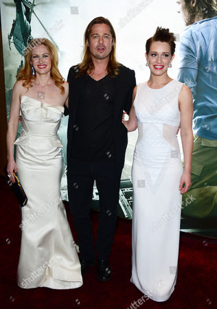 Mireille Enos, Brad Pitt and Daniella Kertesz arrive at the World Premiere of 'World War Z' at the Empire Cinema in London on Sunday June 2nd, 2013