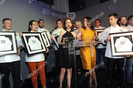 IMAGE DISTRIBUTED FOR FOOD & WINE - FOOD & WINE's editor in chief Dana Cowin, center left, and publisher Christina Grdovic, center right, present the 2013 class of Best New Chefs at the FOOD & WINE Best New Chefs 25th anniversary celebration, at Pranna on in New York City, New York