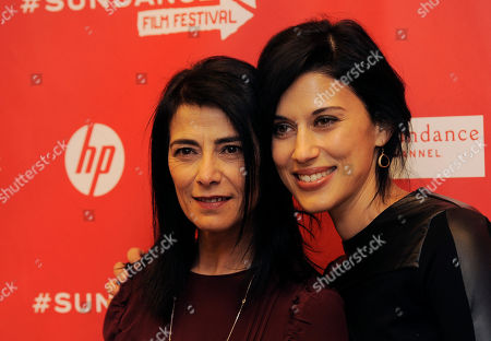 """Cherien Dabis, right, writer, director and star of """"May in the Summer,"""" poses with cast member Hiam Abbass at the premiere of the film on the opening night of the 2013 Sundance Film Festival, in Park City, Utah"""