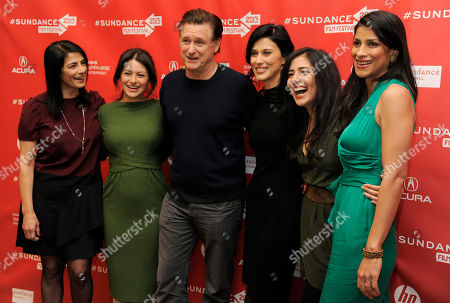 """Stock Photo of Cherien Dabis, third from right, writer, director and star of """"May in the Summer,"""" poses with cast members, from left, Hiam Abbass, Alia Shawkat, Bill Pullman, Nadine Malouf and Ritu Singh Pande at the premiere of the film on the opening night of the 2013 Sundance Film Festival, in Park City, Utah"""