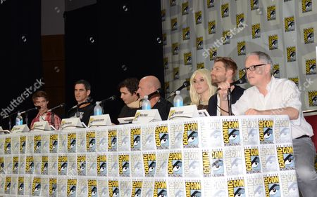 "Colin Ford and from left, Eddie Cahill, Alexander Koch, Dean Norris, Rachelle Lefevre, Mike Vogel and Neal Baer attend the ""Under the Dome"" panel on Day 1 of Comic-Con International, in San Diego"