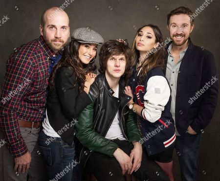 Stock Image of From left, Rob Vroom, Emmanuelle Chriqui, Pat Kiely, Meaghan Rath and Sam Huntington pose for a portrait at Quaker Good Energy Lodge with GenArt and the Collective, during the Sundance Film Festival, on in Park City, Utah