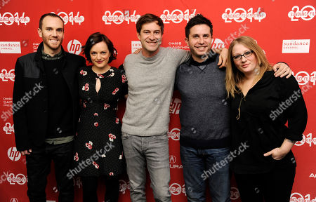 "Charlie McDowell, far left, director of ""The One I Love,"" poses with, left to right, cast members Elisabeth Moss and Mark Duplass, screenwriter Justin Lader and producer Mel Eslyn at the premiere of the film at the 2014 Sundance Film Festival, in Park City, Utah"