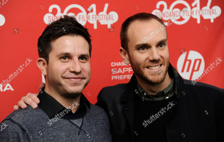 "Justin Lader, left, screenwriter of ""The One I Love,"" poses with the film's director Charlie McDowell at the premiere of the film at the 2014 Sundance Film Festival, in Park City, Utah"
