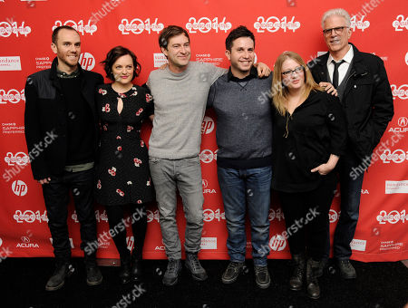 "Charlie McDowell, far left, director of ""The One I Love,"" poses with, left to right, cast members Elisabeth Moss and Mark Duplass, screenwriter Justin Lader, producer Mel Eslyn and cast member Ted Danson at the premiere of the film at the 2014 Sundance Film Festival, in Park City, Utah"