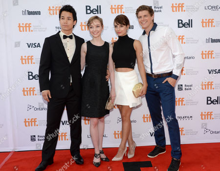 "TIFF Rising Stars Shannon Kook, and from left, Julia Sarah Stone, Sophie Desmarais and Alexandre Landry arrive at the premiere of ""The Drop"" on day 2 of the Toronto International Film Festival at the Princess of Wales Theatre, in Toronto"