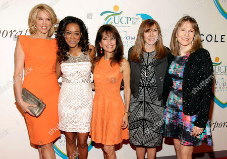 TV journalist Paula Zahn, from left, actresses Robin Givens and Susan Lucci, fashion designer Nicole Miller and Donna Hanover attend the 2014 Women Who Care Benefit, in New York