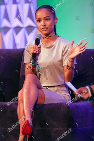 Karrueche Tran speaks during Genius Talks at the 2015 BET Experience at the Los Angeles Convention Center, in Los Angeles