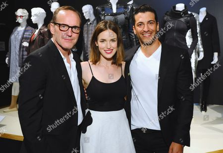 "Clark Gregg, from left, Elizabeth Henstridge and Simon Kassianides, of ""Marvel's Agents of S.H.I.E.L.D."" at The 9th Annual Outstanding Art of Television Costume Design Exhibition opening at the FIDM Museum & Galleries on the Park, in Los Angeles. The Television Academy and FIDM Museum honored this year's Emmy(R) Award winners in Outstanding Costume Design at the opening reception for this annual special exhibition"