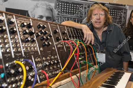Keith Emerson, of Emerson, Lake & Palmer, attends the 2015 National Association of Music Merchants (NAMM) show at the Anaheim Convention Center on in Anaheim, Calif