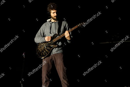 Brad Delson and Linkin Park perform at Rock in Rio USA at the MGM Resorts Festival Grounds, in Las Vegas, Nevada