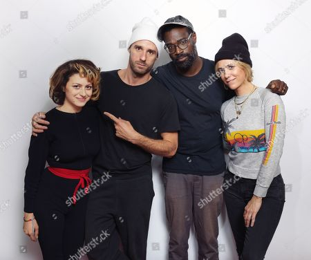 """Alia Shawkat, from left, director/actor Sebastian Silva, Tunde Adebimpe and Kristen Wiig pose for a portrait to promote the film, """"Nasty Baby"""", at the Eddie Bauer Adventure House during the Sundance Film Festival, in Park City, Utah"""