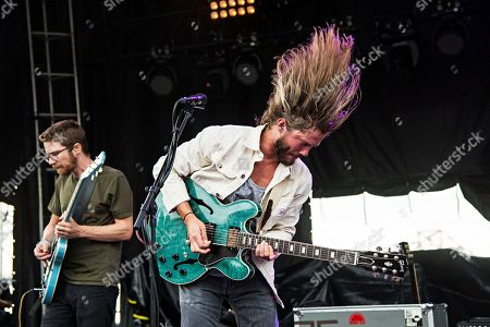Trevor Terndrup, left, and Spencer Thomson of Moon Taxi performs during day one of Forecastle Music Festival at Waterfront Park, in Louisville, Kentucky