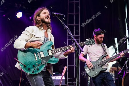 Trevor Terndrup, left, and Tommy Putnam Moon Taxi perform during day one of Forecastle Music Festival at Waterfront Park, in Louisville, Kentucky