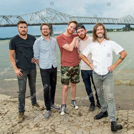Tyler Ritter, from left, Spencer Thomson, Wes Bailey, Tommy Putnam, and Trevor Terndrup of Moon Taxi seen during day one of Forecastle Music Festival at Waterfront Park, in Louisville, Ky
