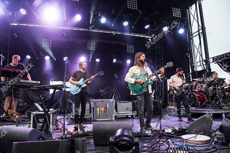 Wes Bailey, from left, Spencer Thomson, Trevor Terndrup, Tommy Putnam, and Tyler Ritter of Moon Taxi perform during day one of Forecastle Music Festival at Waterfront Park, in Louisville, Kentucky