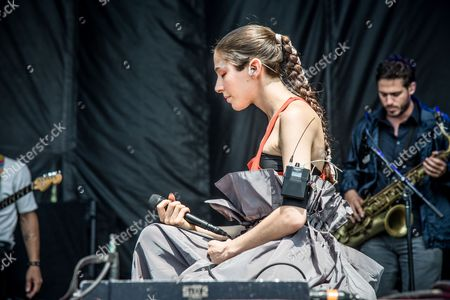 Caroline Polachek of Chairlift performs on day 3 of Lollapalooza, in Chicago