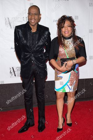Freddie Jackson and Valerie Simpson attend the 47th Annual Songwriters Hall of Fame Induction Ceremony and Awards Gala at the Marriott Marquis Hotel, in New York